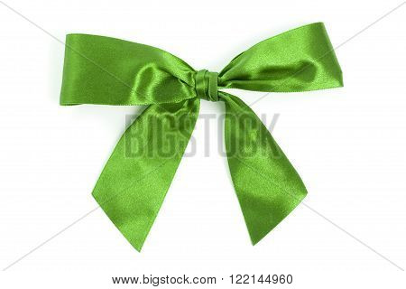 Green bow with white background close up