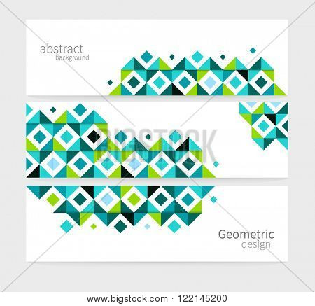 Geometric background Abstract header set. blue & green squares. minimalistic design creative concept stock-vector 10 EPS
