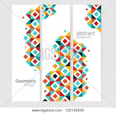 Geometric background Abstract banner header set.red, yellow & blue squares. minimalistic design creative concept stock-vector 10 EPS