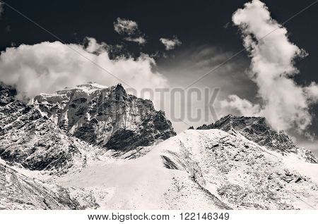 Mountain scenery on the Mount Everest Base Camp trek through the Himalaya Nepal