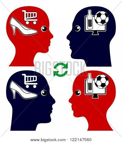 Couple and Emotional Intelligence. Man and woman try to understand each others point of view and desires, football versus shopping