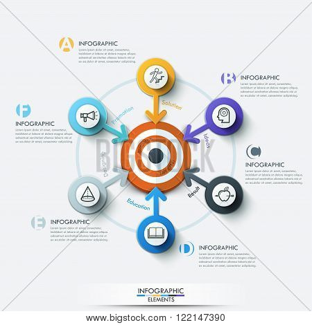 Business target marketing concept. Target with arrow and line icons for 6 options. Can be used for workflow layout, banner, diagram, web design, infographic template.