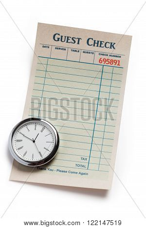Guest Check and clock concept of restaurant expense.