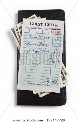 Fake Guest Check and dollar concept of restaurant expense.