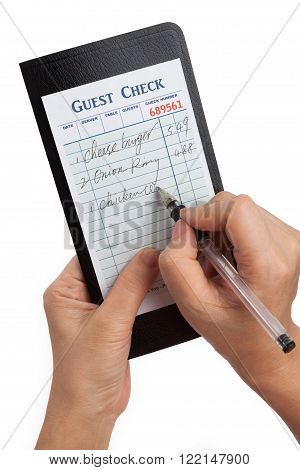 Guest Check concept of restaurant taking orders.