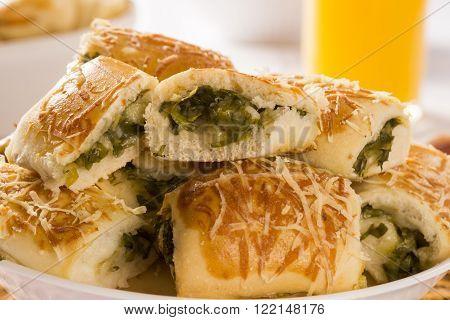 Brazilian snack. Escarole endive snacks portion on the table.