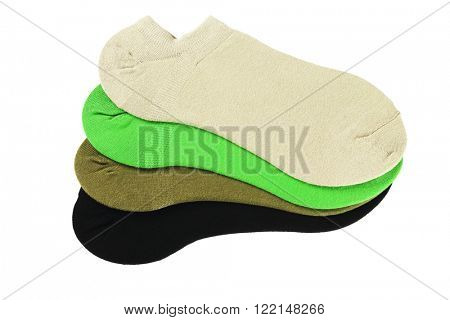 Collection of Color Ankle Socks On White Background
