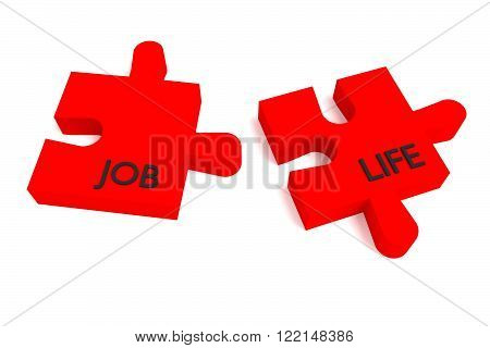 Red Puzzle, job and life, jigsaw on a white background