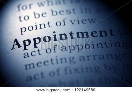 Fake dictionary, definition of the word Appointment