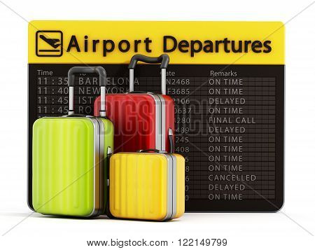 Airport departure board and suitcases isolated on white background
