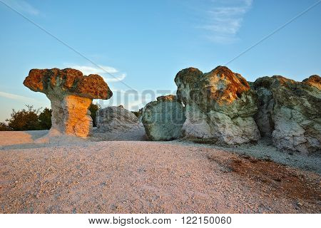 Morning landscape of rock formation The Stone Mushrooms near Beli plast village, Kardzhali Region, Bulgaria