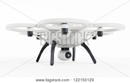 Drone with six propellers isolated on white background