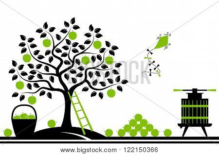 vector border with apple tree, fruit press and basket of apples isolated on white background
