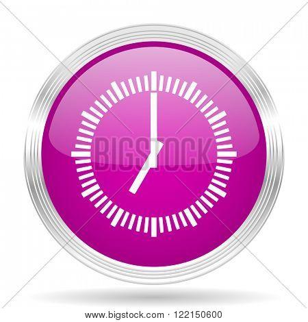 time pink modern web design glossy circle icon