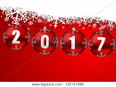 2017 new years illustration with christmas balls