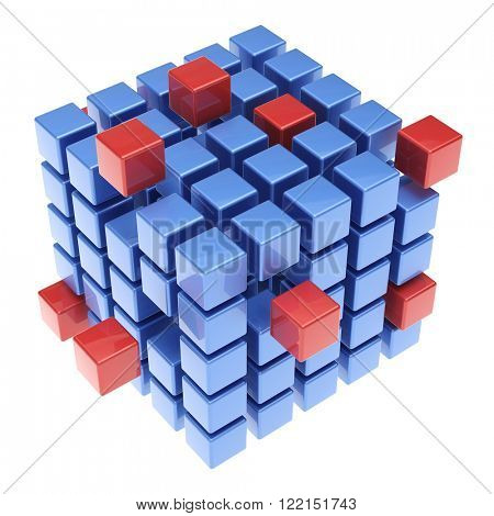 Hoovering 3D cube made from many blue and red blocks (3D Rendering)