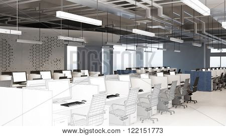 Planning of callcenter office from CAD wireframe mesh to 3D Rendering