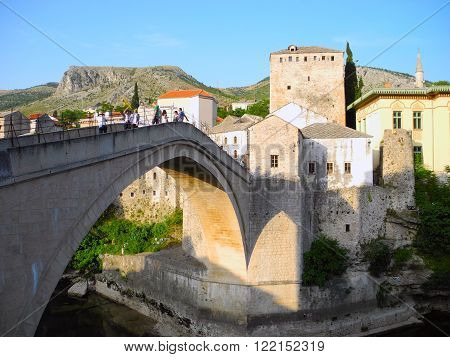 Mostar Bosnia and Herzegovina - June 13 2015: Old Bridge - the main landmark of the capital.