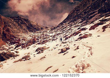 Hiking group on a trail. Sagarmatha National Park Nepal Himalayas