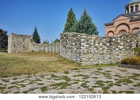 Ruins of wall of Medieval Monastery St. John the Baptist, Kardzhali,  Bulgaria