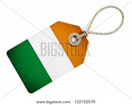 Ireland flag on isolated tag with rope.