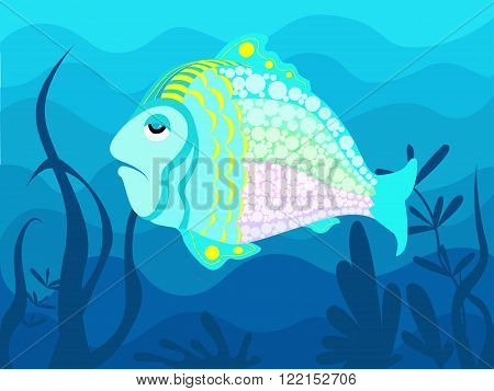 Decorative blue fish on the background of the seafloor