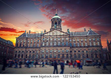 Royal Palace At The Dam Square, Amsterdam.