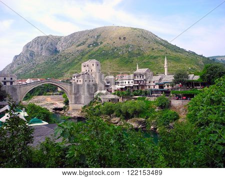 Landscape of the city of Mostar and its main landmark of the Old Bridge.