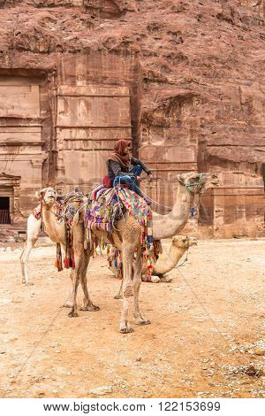 Petra, Jordan - October 26, 2015: Bedouin on a camel. Tour guide.  A walk on a camel. The service for tourists. The rainy season in Jordan. Petra is one the New Seven Wonders of the World.