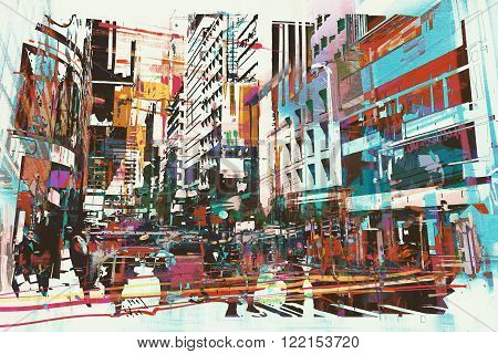 abstract art of cityscape, illustration digital painting