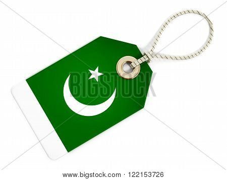 Pakistani flag on isolated tag with rope.
