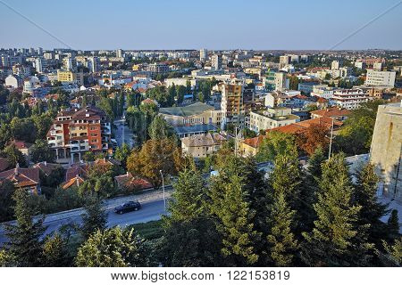 Panoramic view of City of Haskovo from Monument of Virgin Mary, Bulgaria
