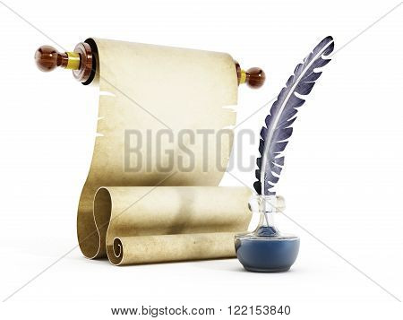 Parchment quill and ink isolated on white background