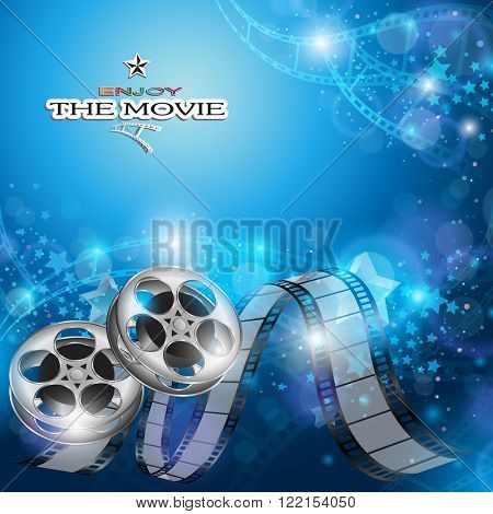 Abstract Cinema Background with Blurred Lights, Film Reel and Film Strip
