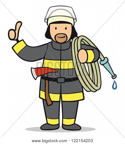 Cartoon firefighter with tools holding his thumbs up