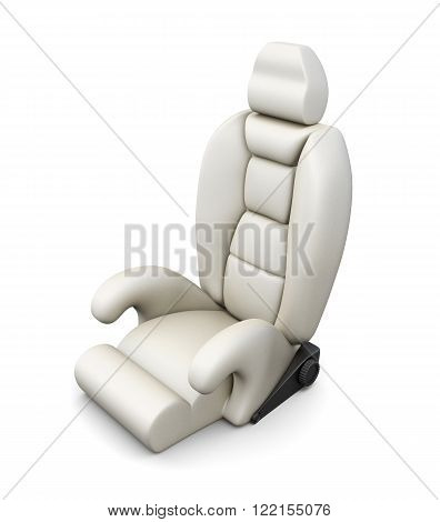 White car seat isolated on white background. 3d render image.