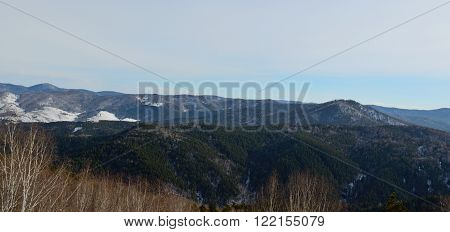 Panorama of the Altai foothills from the mountain top Tserkovka Altai Krai Russia.