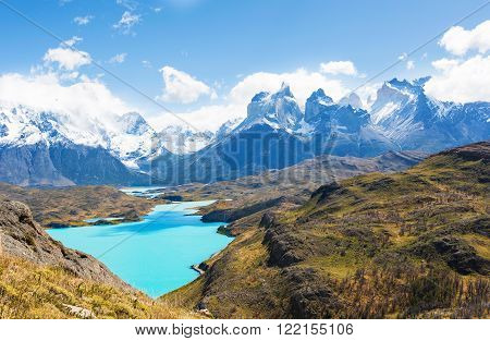 beautiful view from mirador condor at lake pehoe and cuernos del paine in torres del paine national park patagonia chile