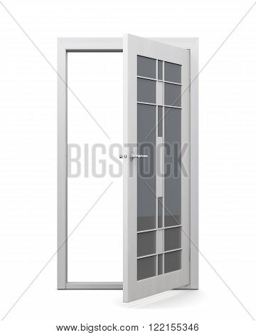 Open glazed door isolated on white background. 3d rendering.