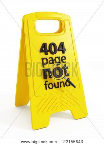 404 page not found text on warning sign