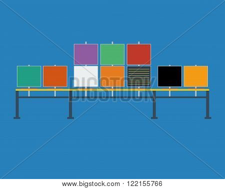 Control room console - table with monitors. Sit-stand light console with video wall from monitors without pc. Illustration in flat design colors.