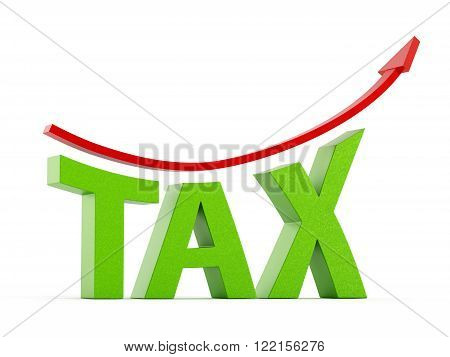 Red arrow going up on the tax text. Increasing taxes concept.