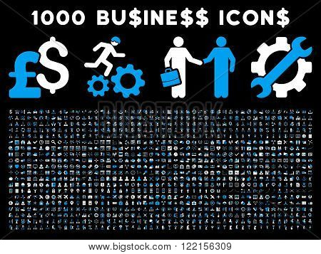 1000 Business vector icons. Pictogram style is bicolor blue and white flat icons on a black background. Pound and dollar currency icons are used