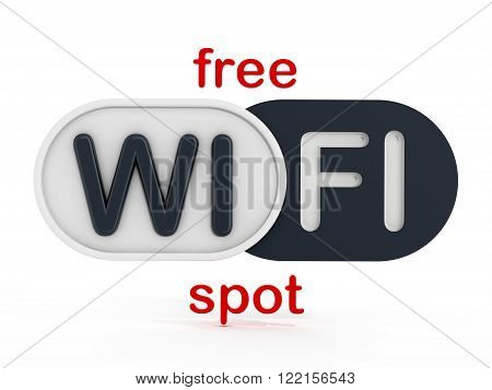 Free WiFi spot badge isolated on white background
