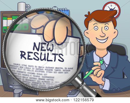 New Results. Officeman Holding a Paper with Text New Results. Closeup View through Lens. Multicolor Doodle Illustration.
