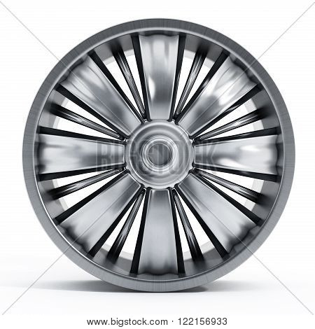 Steel car wheel isolated on white background