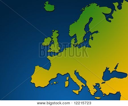 Colourful outline map of europe over blue background