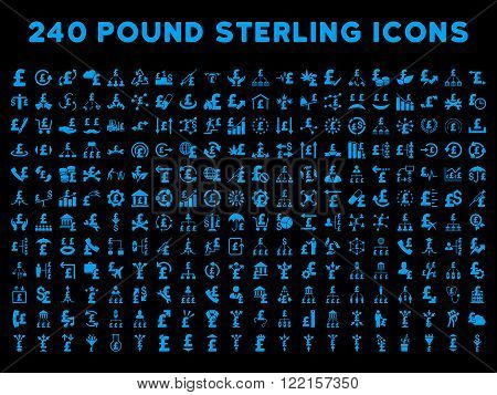240 British Business vector icons. Style is blue flat symbols on a black background. Pound sterling icon is basic element.