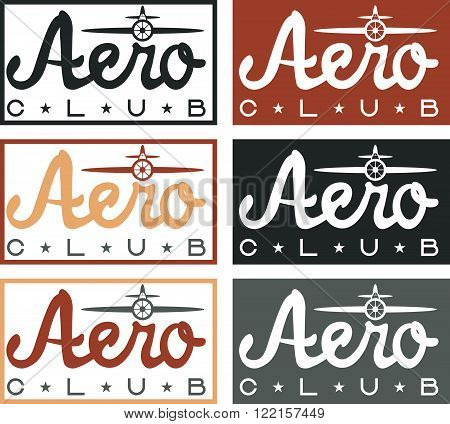 Aero Club Quote On Vintage Labels Set
