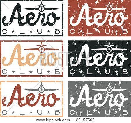 Aero Club Quote On Vintage Grunge Labels Set